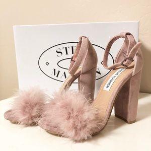 6342843795e Steve Madden Shoes - Steve Madden Carabu Suede Feather Sandal Heel